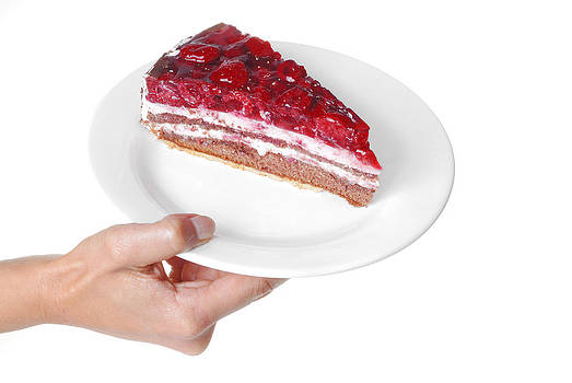 Raspberry cake served on plate by Matthias Hauser