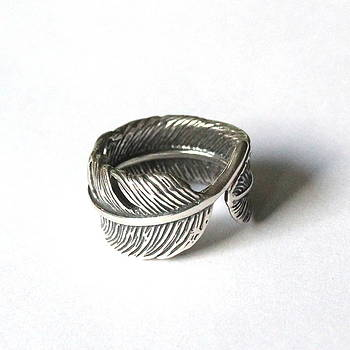 Raven Feather Bypass Ring cast in Solid Sterling Silver by Michael  Doyle