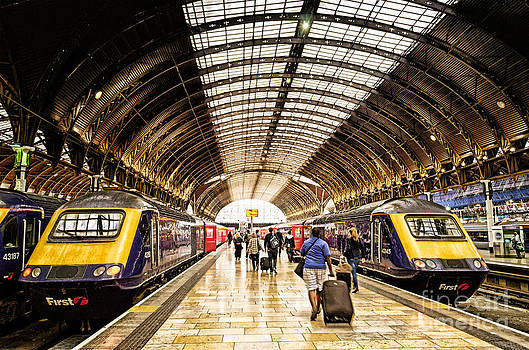 Ready for departure - trains ready to depart from under the grand roof of London Paddington Station by David Hill