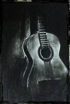 Realistic Guitar Charcoal work by Kaushik Varma