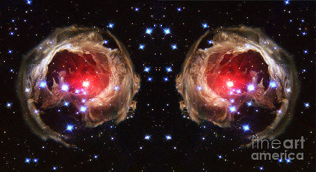 Red Alien Skeleton Eyes Abstract Space Art by Animated Sentiments