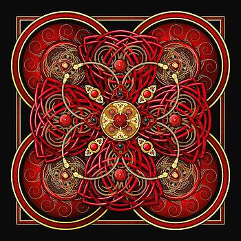 Red and Gold Celtic Cross by Richard Barnes
