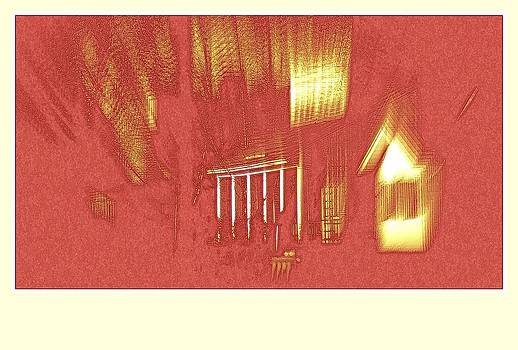 Rosemarie E Seppala - Red And Gold Ghosting Shadows Abstract Digital Architecture