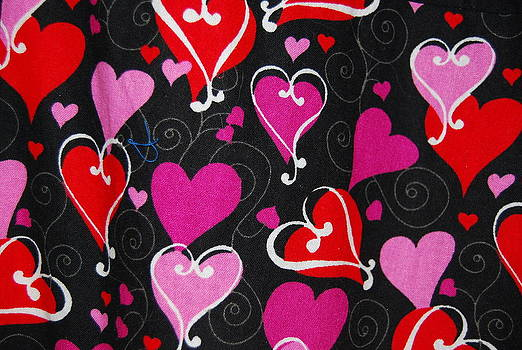 Red and  Pink Hearts on black by Photos by Staci Art by Douglas