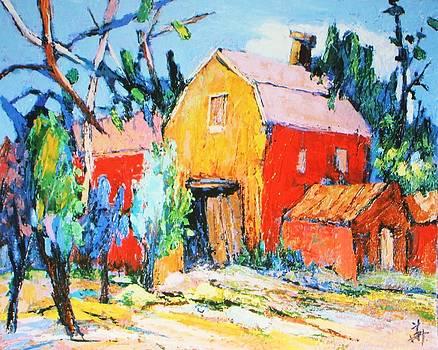 Red and Yellow Barn by Siang Hua Wang