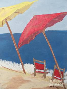 Red and Yellow Beach Umbrellas by Bobbi Groves