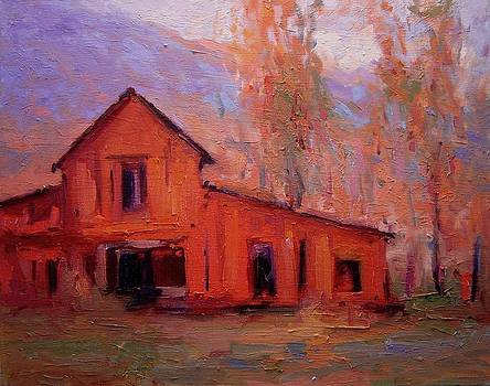 Red barn at sunrise by R W Goetting