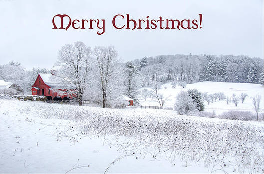 Red Barn Christmas Card by Donna Doherty