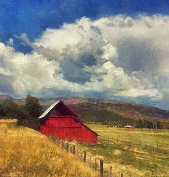 Red Barn Under Cloudy Blue Sky in Colorado by Victoria Porter