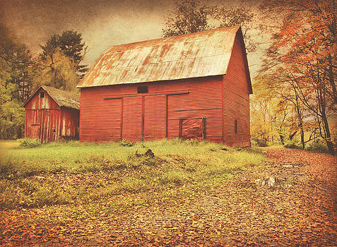 Red Barns On Old Mine Road by Pat Abbott