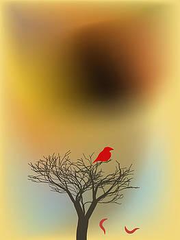 Red bloody bird on a tree on brown sunset by Larisa Karpova