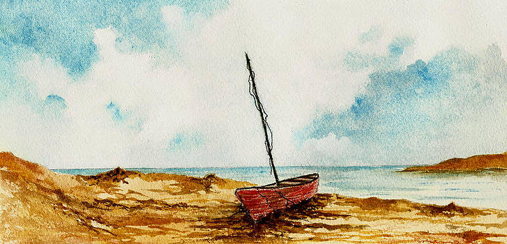 Red Boat on the Shore by Michael Vigliotti