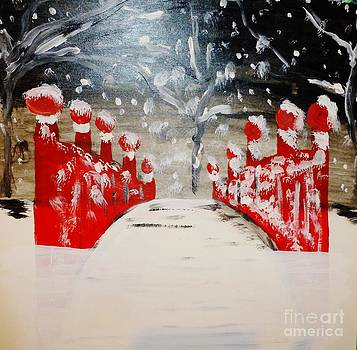Red Bridge in the Snow by Marie Bulger