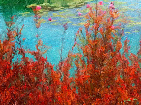 Dale Jackson - Red Brush along the Pond