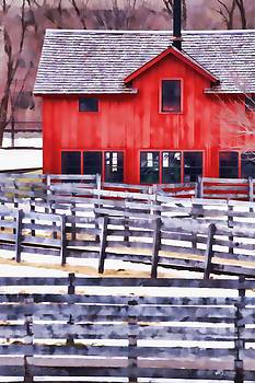 Red Building and Fences by Christopher Grove