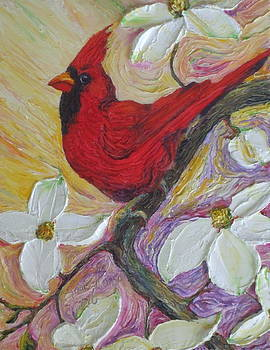Red Cardinal and Dogwood Flowers by Paris Wyatt Llanso