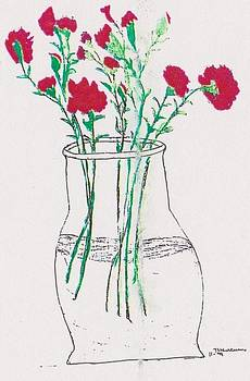 Red Carnations in Vase by Thelma Harcum