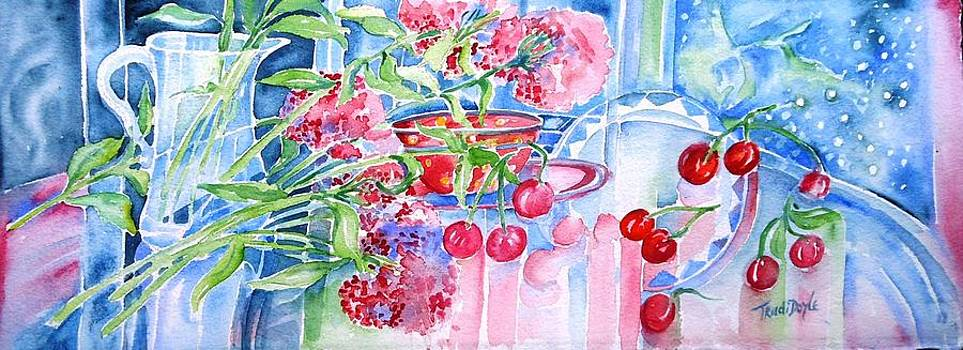 Red Cherries and Sweet William by Trudi Doyle