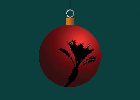 Stan  Magnan - Red Christmas Palm Tree Ball Ornament