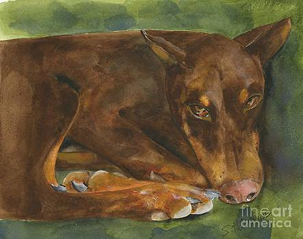 Red Doberman Watercolor by Sheryl Heatherly Hawkins