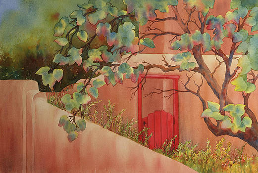 Red Door in Adobe Wall by Johanna Axelrod