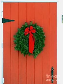 Christine Stack - Red Door with Wreath