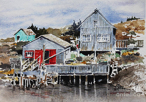 Red Doors At Peggys Cove by Monte Toon