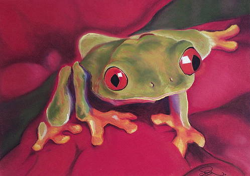 Red-Eyed Tree Frog on Red Foliage by Cristel Mol-Dellepoort