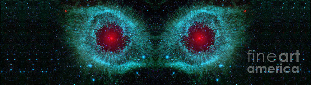 Red Eyes in the Dark Sky Abstract Space Art by Animated Sentiments