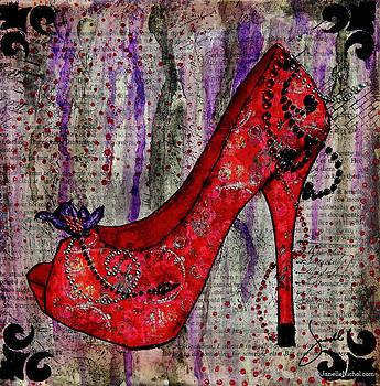 Janelle Nichol - Red Fashion Shoe with Purple Flower