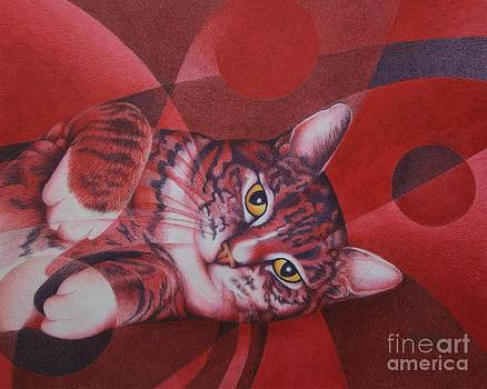 Red Feline Geometry by Pamela Clements