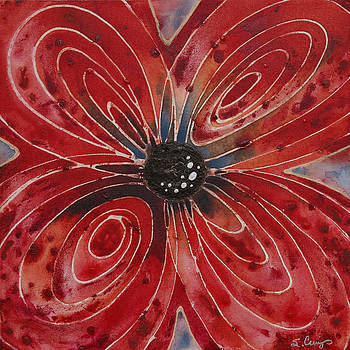 Sharon Cummings - Red Flower 2 - Vibrant Red Floral Art