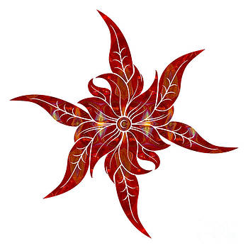 Omaste Witkowski - Red Flower Fantasy Designs Abstract Holiday Art by Omaste Witkow