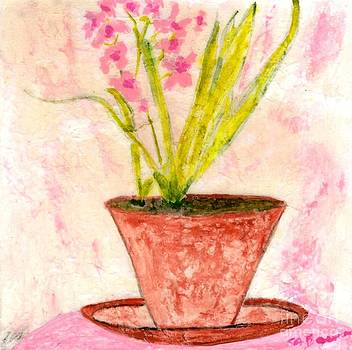Red Flower Pot by Shirley Barone