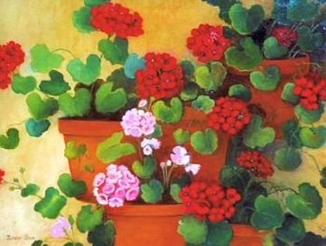 Red Geraniums by Jeanene Stein
