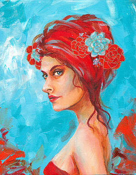 Red Head with Flowers in her Hair by SL Scheibe
