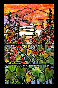 Donna Walsh - Stained Glass Tiffany Red hollyhocks in landscape in watercolor