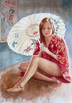 Red kimono by Tomas OMaoldomhnaigh