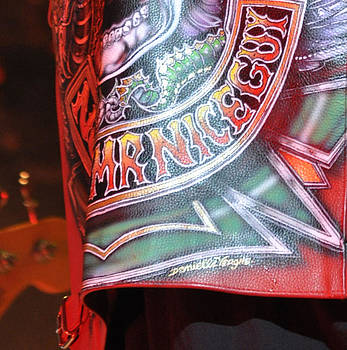 Red leather vest worn by Alice Cooper on stage  by Danielle Vergne