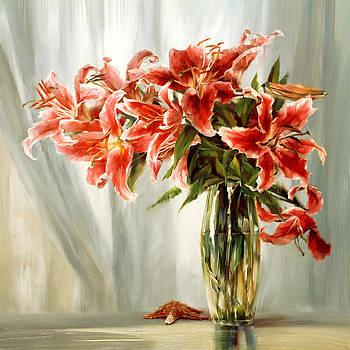 Red Lilies by Jihong  Shi