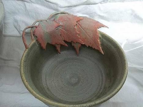Red Maple Leaf Bowl by Carol Miller