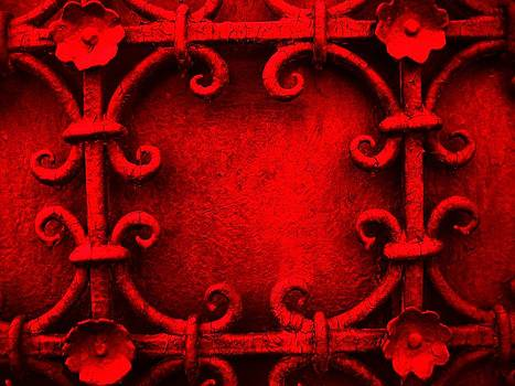 Red metal gate by Florinel Nicolai Deciu