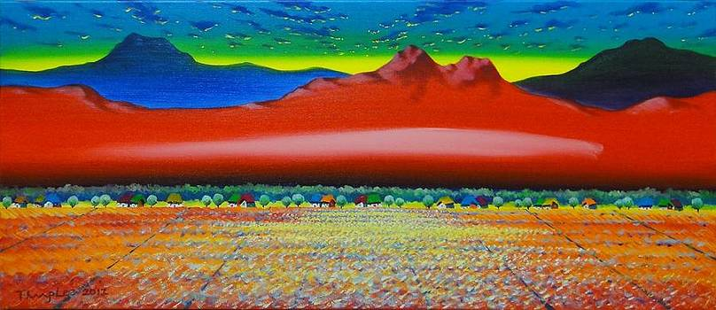 Red mountain with golden fields by Tang Hong Lee