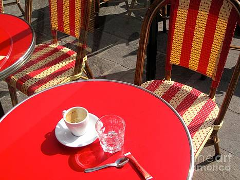 Red Parisian Cafe Table by Julia Willard