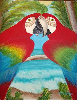 Red Parrots by Elizabeth Diaz