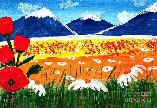 Eliza Donovan - Red Poppies and Blue Mountains