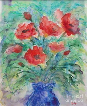 Red Poppies Blue  Vase by Bernice Grundy