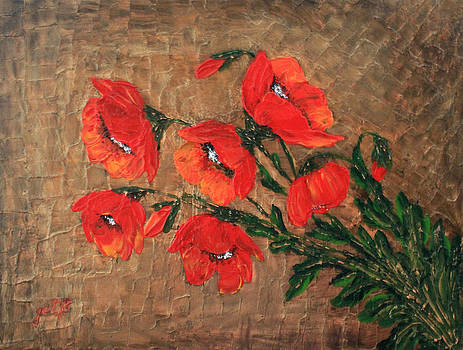 Red Poppies Bouchet original palette knife by Georgeta  Blanaru