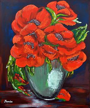 Red Poppies in pot by Juanita Mulder