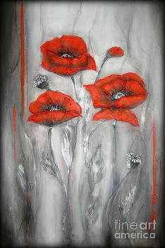 Red Poppies in Silver Dream by Elena  Constantinescu